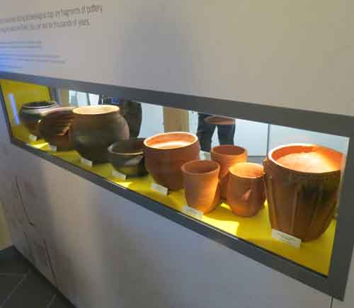 Hengistbury Head Visitor Centre Display of Replica pottery
