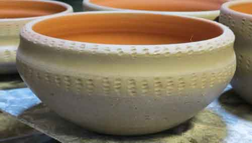bowl inspired by neolithic maggot decoration
